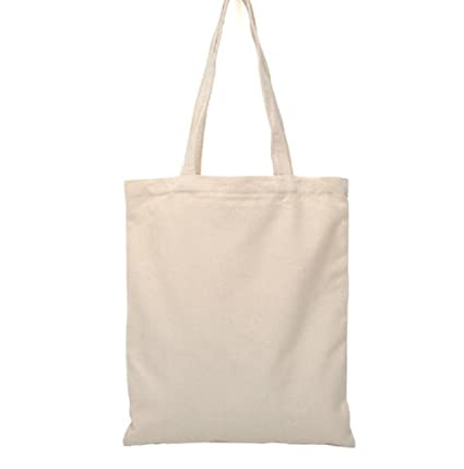 Bolsa de compras Bigboba, color blanco, de lona natural, de algodón, para mujer … (A)