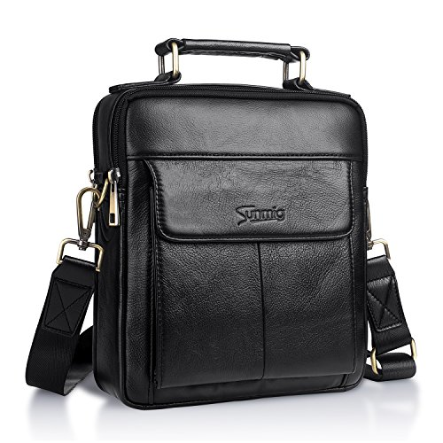 Sunmig Men's Genuine Leather Shoulder Bag Messenger Briefcase CrossBody Handbag (Black) (Med Black Leather Purse)