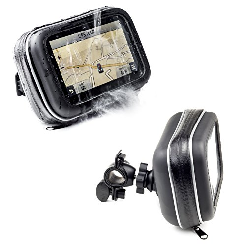 550 Motorcycle Mount - Motorcycle Handlebar Bike Mount With Waterproof Case For Garmin Drive Drivesmart Driveassist 52 51 50 55 Driveluxe 52 LMT-S 50 40 Dezl Nuvi TomTom Via 1425M 1525M 1525TM Go 52 520 5200 Trucker 550 GPS