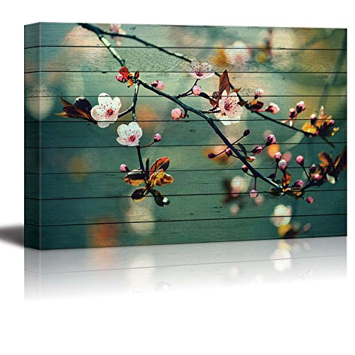 Pink Cherry Blossom Branches on a Teal Vintage Background