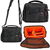 DURAGADGET Deluxe Quality, Shock-Absorbing & Water-Resistant Shoulder / Messenger Bag in Black & Orange for the NEW Sony FDR-AXP33