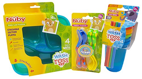 Nuby Bundle (Blue-Green). Spoons and Forks (1 Set), Cups and Sectional Plates 1 Set / 4 Pk. Each. Plus Free Bonus Baby Disposable ()