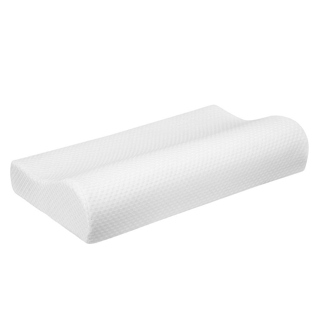 LANGRIA Nueva Almohada Cervical Extra Grande de Espuma de Memoria con Diseño Ergonómico con Contorno Certificación CertiPUR-US Anti Ácaros Hipoalergénica (60 x 40 x 12-9 cm, Blanco)