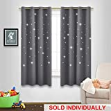 NICETOWN Star Cutouts Blackout Curtain - Naptime Essential Nursery Window Drapery for Kid's Room, Bedroom Blackout Drape ith Die-Cut Stars (Grey, 1 Panel, W52 x L63-Inch)