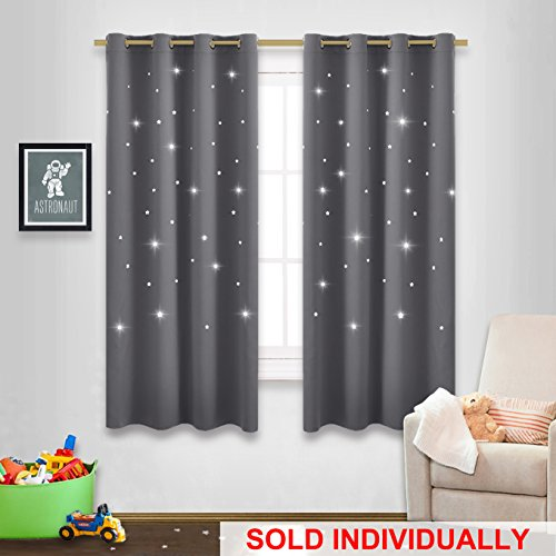 Star Cutout Blackout Curtain Blind - NICETOWN Naptime Essential Nursery Window Drapery for Kid's Room, Bedroom Blackout Drape Panel with Die-cut Stars (Grey, 1 Panel, W52 x L63-Inch)