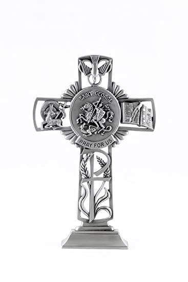 Pewter Catholic Saint St George Pray for Us Standing Cross, 6 Inch