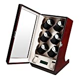OLYMBROS Wooden Automatic Watch Winder Case with LCD Touch Screen for 12+2 Watches,Red