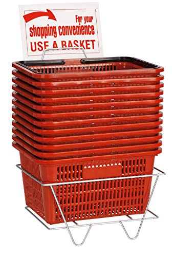 Red Shopping Baskets with Stand - Set of 12 by SSWBasics