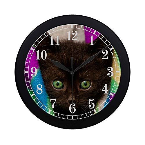 InterestPrint Lovely Black Cat Kitten with Green Eyes Modern Round Wall Clock Decorative Quartz Clock for Office School Kitchen Bedroom Living Room, Black ()