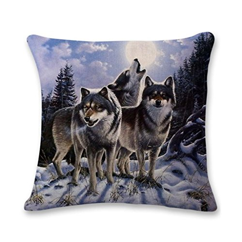 Price comparison product image Bokeley Pillow Case,  3D Flax Square Wolf Print Decorative Throw Pillow Case Bed Home Decor Cushion Cover (H)