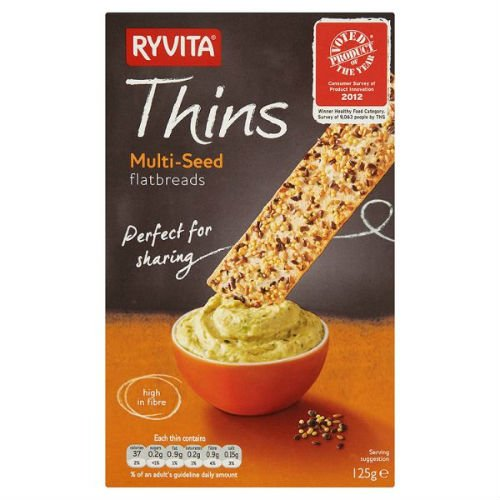 Ryvita Thins Multi-Seed Flatbreads Biscuits 125g Case of 6