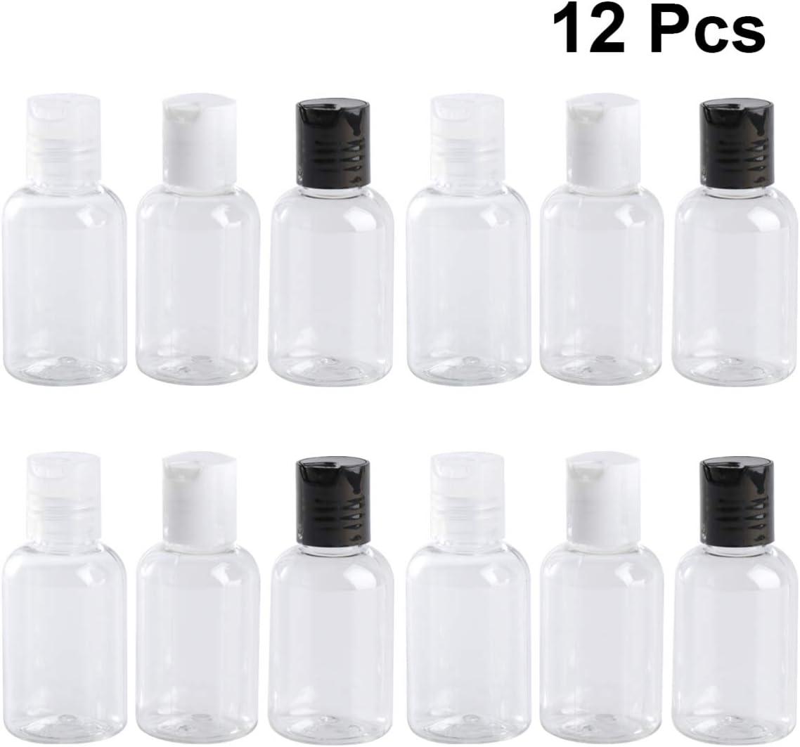 OUNONA 12PCS 50ml Botella De Viaje De Loción De Plástico Recargable Con Tapa De Presión Para Desinfectante De Manos, Champú, Acondicionador, Loción