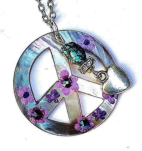 Hippie Peace Sign Necklace with Dangling Heart Charm Hand Painted Purple Flowers and Genuine Turquoise Bead -