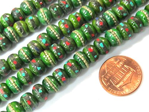 20 beads - 8 mm Tibetan green color bone mala turquoise brass coral inlay beads and Guru bead supply - ML076B