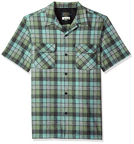 Pendleton Men's Short Sleeve Board Shirt, Green/Oxford Grey Beach Boy, MD by Pendleton