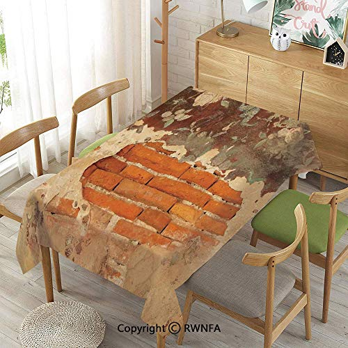 Homenon Tablecloth for Dining Room for Rectangle Tables,Old Historical Floral Mural Painting on A Wall Concrete Bricks Rustic Decoration,Waterproof Wrinkle Resistant,Orange Beige,55
