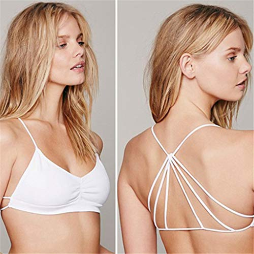T T Store Lady Cut Out PaddedSexy Lingerie Strappy Cage Open Back Push-up Bra Bustier Bralette Bralet Crop Top(White,One Size) ()
