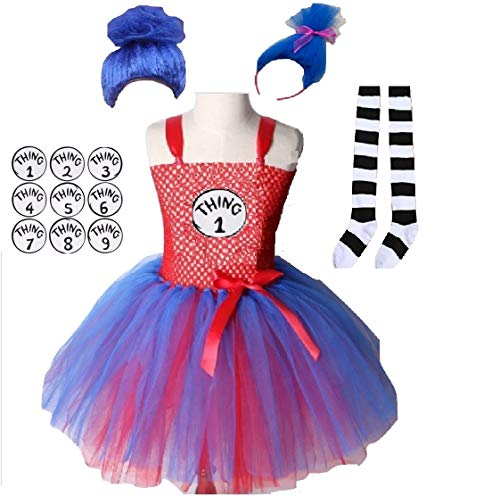 Hat Cat Things Costume Tutu Dress from Chunks of Charm (Blue Ponytail -