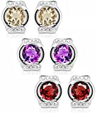 ♥Mother's Day Gift♥925 Sterling Silver Natural Gemstone Stud Earrings Gifts for Women for Her