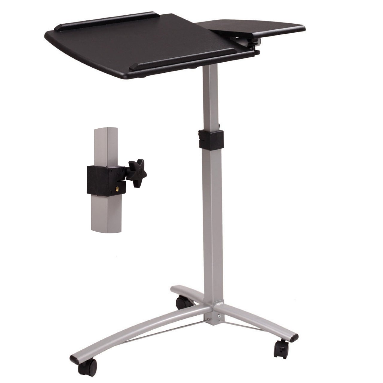 Laptop Notebook Smartphone Stand Portable Rolling Desk Bedroom Cart 360 ° Tabletop Angle - School Home Office Furniture Black #1043