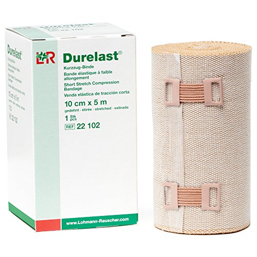Lohmann & Rauscher Durelast Extra Short Stretch Bandage, Compression Bandage with 45% Stretch, 66% Cotton & 34% Polyamide, 10cm Wide x 5m Long Roll ()