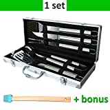 BBQ Tool Set - Grilling Accessories Kit - Utensils Indoor-Outdoor Heavy Duty Stainless Steel - Backyard Barbeque  16.5 inches Tool Box - 5 PCs Set - Aluminum Storage Case - Best for Men and Women