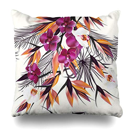 InnoDIY Throw Pillow Covers Tropical Watercolor Pattern Plants Orchids Palm Floral Leafs Ideal Flower Vintage Pink Bird Pillowslip Square Size 20 x 20 Inches Cushion Cases ()