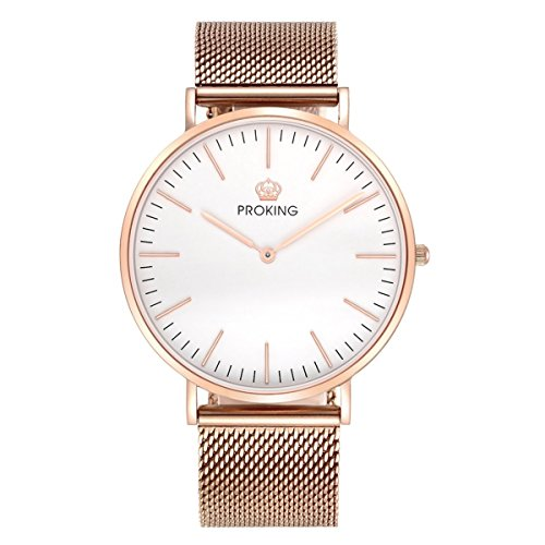 Mens Watches,PROKING Waterproof Business Dress Rose Gold Stainless Steel Wrist Watch,6mm Ultra Thin Sapphire Crystal Casual Watches with Free Genuine Leather Band (Men, White) by PROKING