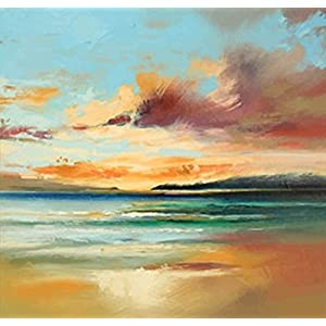 Wowdecor Paint by Numbers Kits for Adults Kids, DIY Number Painting - Sea Beach Sunset Scenery by Monet 40 x 40 cm - New Stamped Canvas (No Frame)