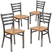 Flash Furniture 4 Pk. HERCULES Series Clear Coated Ladder Back Metal Restaurant Chair - Natural Wood Seat