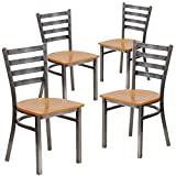 Flash Furniture 4 Pk. HERCULES Series Clear Coated Ladder Back Metal Restaurant Chair – Natural Wood Seat Review