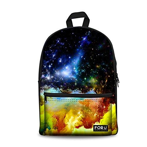 doginthehole Galaxy Printed Kids School Backpack Blue Universe Nebula Sky (Harajuku Lovers Backpack)