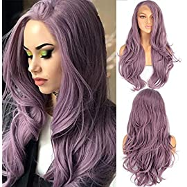 Leeven 24 Inch Long Wavy Ombre Grey Synthetic Lace Wigs Glueless Lace Front Wig Heat Resistant Fiber Hair Wigs For…
