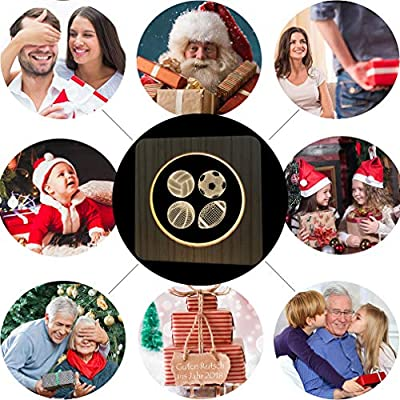 Christmas Present Natural Wooden Sport Balls Night Lamp for Kids, Acrylic Baby Table Lamp for Breast-Feeding with 3D Illusion, Perfect Birthday Gift USB Line Safety Desk Lamp Decoration Light