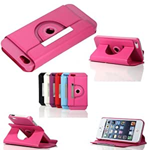 ATC Rose red 360 Degree Rotating Faux Leather Flip Stand Cover Case Pouch For Apple iPhone 5 (Screen Protector included)