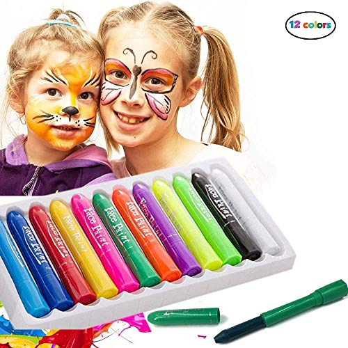 Face Paint Crayons - 12 Piece Face Painting Kits and Washable Face Paints for Kids Face Painting and Body Paint for Kids Party Games, Makeup and Professional Face Painting Kit for Adults