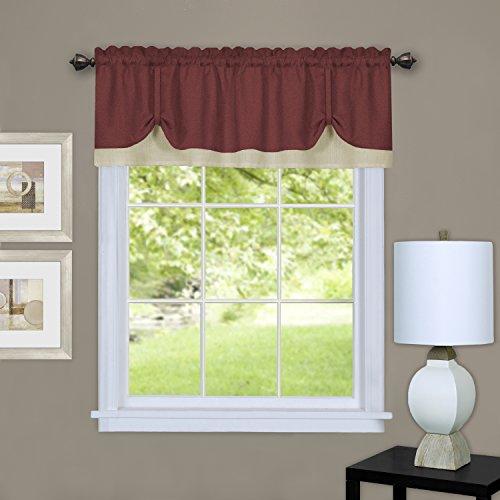 Achim Home Furnishings DRVL14MT12 Darcy Window Curtain Valance, 58 x 14, Marsala/Tan