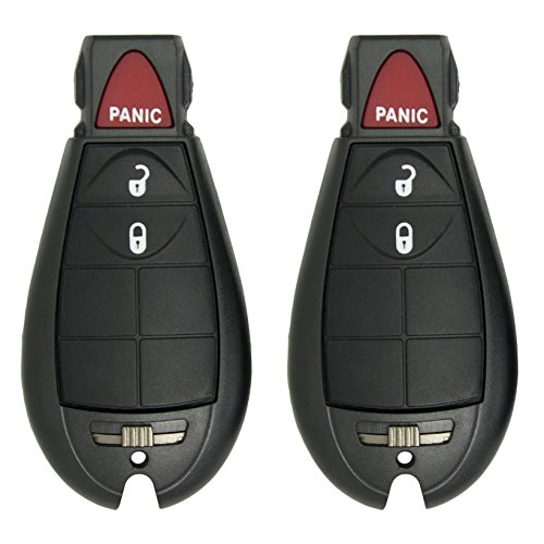 Keyless2Go New Replacement Shell Cases and 3 Button Pad for Remote Key Fobik with FCC M3N5WY783X - SHELL ONLY (2 Pack)