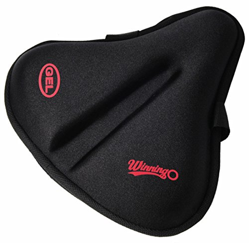 Bicycle Seat Pad (Winningo Exercise Gel Bicycle Saddle Cover Wide Cycling Seat Cushion for Wide Bike Saddle Large Bicycle Seat Pad (Black-XL))