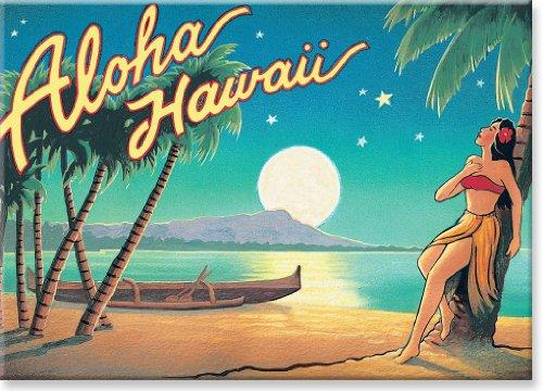 - Hawaiian Art Collectible Refrigerator Magnet - Aloha Hawaii (Moon) - by Kerne Erickson