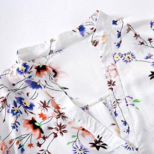 FEITONG De las mujeres Manga larga suelta Blusa de impresión Camisa Tops Blusa blanco
