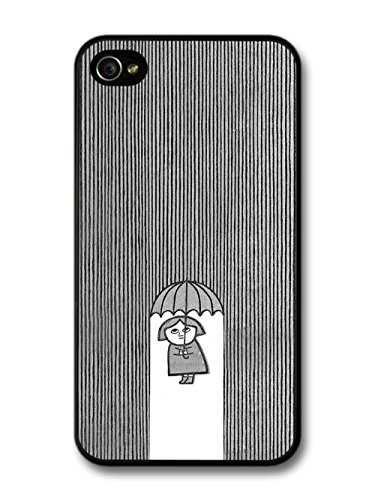 Cool Minimalist Lady with Umbrella in the Illustration Rain case for iPhone 4 4S