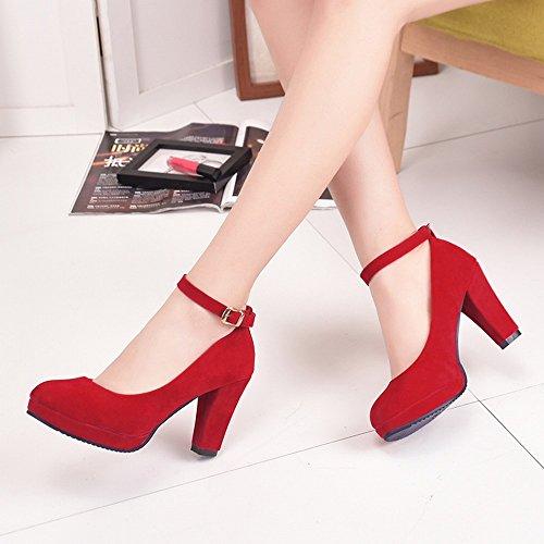 SHOEES Plataforma Impermeable de Tacón Alto Áspera con Tacones Altos de Etiqueta Redonda Zapatos de Deducción de Zapatos de Gamuza Dulce do