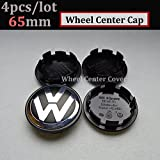 Hanway 4Pcs 56mm 60mm 65mm 70mm vw Wheel Center cap Car Wheel Hub Caps Volkswagens LOGO Badge Emblem VW Golf Jetta Mk5 Passat Scirocco B6 SANTANA (black, 65mm)