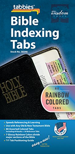 - Tabbies Rainbow Bible Indexing Tabs, Old & New Testaments, 80 Tabs Including 64 Books & 16 Reference Tabs, Multi-Colored (58346)