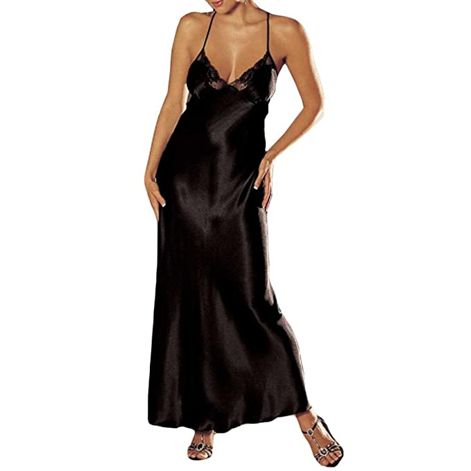 f01fbec246 Fartido Fashion Women Sexy Lingerie Lace Underwear Sleep Skirt Satin Lace  Long Dress (Black