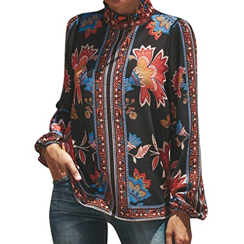 Women's Floral Print Stand Collar Ruffles Long Sleeve Chiffon Blouse (S, Red)