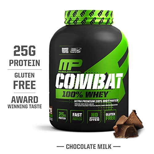 MusclePharm Combat 100% Whey, Muscle-Building Whey Protein Powder, 25 g of Ultra-Premium, Gluten-Free, Low-Fat Blend of Fast-Digesting Whey Protein, Chocolate Milk, 5-Pound, 68 Servings (Best Milk To Use With Whey Protein)