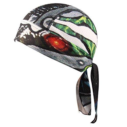 Sweat Wicking Dew Skull Cap Beanie Quick Dry Adjustable Stretch Head Scarf Bandana Head Wrap Perfect for Running Motor Cycling Biking Football Men Women (Black)