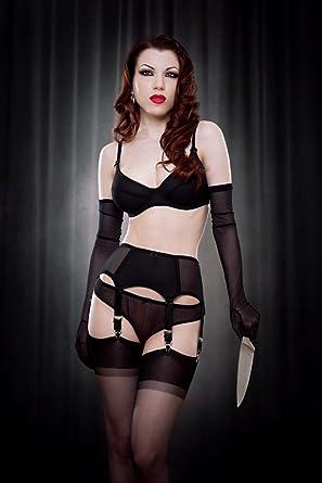 e9f63d825bc Kiss me Deadly Van Doren Boned Black 6 Strap Suspender Belt (Small)   Amazon.co.uk  Clothing